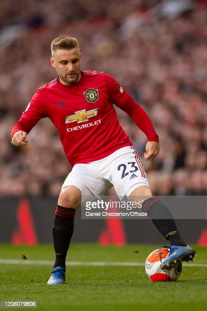 Luke Shaw of Manchester United during the Premier League match between Manchester United and Manchester City at Old Trafford on March 8 2020 in...