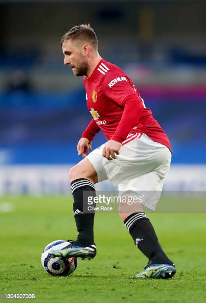 Luke Shaw of Manchester United during the Premier League match between Chelsea and Manchester United at Stamford Bridge on February 28, 2021 in...