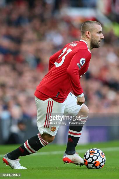 Luke Shaw of Manchester United during the Premier League match between Manchester United and Liverpool at Old Trafford on October 24, 2021 in...
