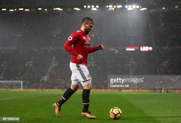Luke Shaw of Manchester United during the Premier League match between Manchester United and AFC Bournemouth at Old Trafford on December 13 2017 in...