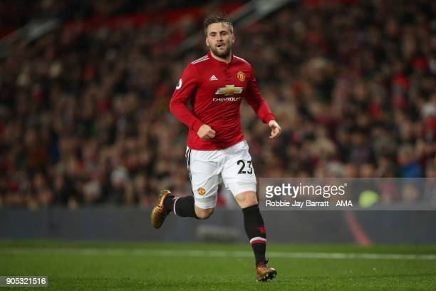 Luke Shaw of Manchester United during the Premier League match between Manchester United and Stoke City at Old Trafford on January 15 2018 in...