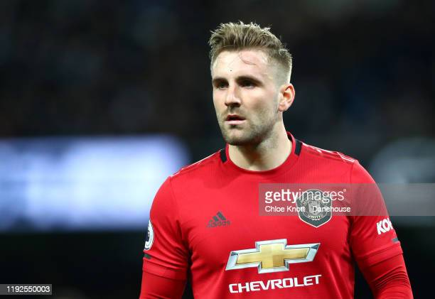 Luke Shaw of Manchester United during the Premier League match between Manchester City and Manchester United at Etihad Stadium on December 07, 2019...