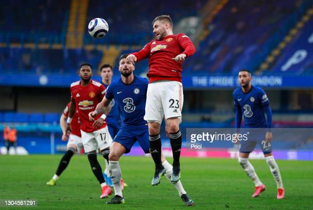 Luke Shaw of Manchester United gets up for a header during the Premier League match between Chelsea and Manchester United at Stamford Bridge on...