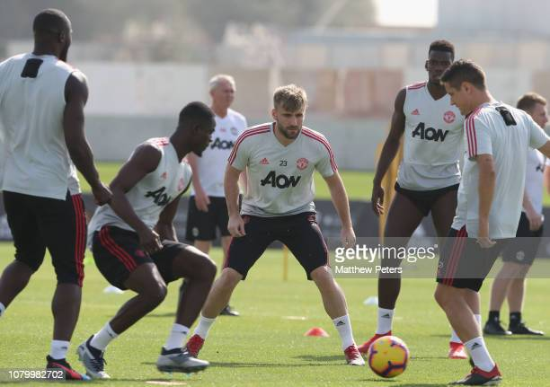 Luke Shaw of Manchester United in action during a first team training session at Nad Al Sheba Sports Complex on January 10 2019 in Dubai United Arab...