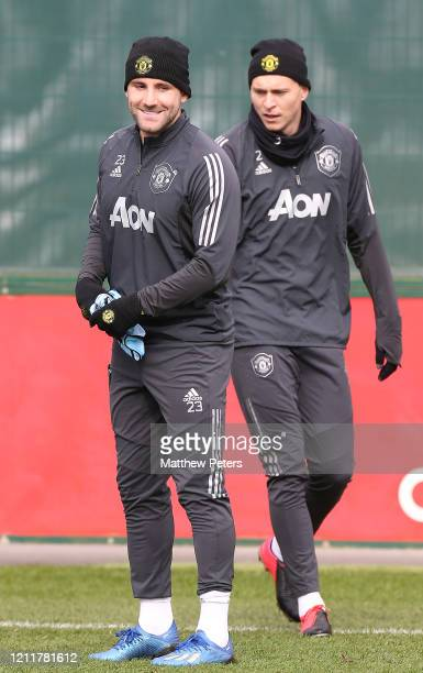 Luke Shaw of Manchester United in action during a first team training session at Aon Training Complex on March 11 2020 in Manchester England
