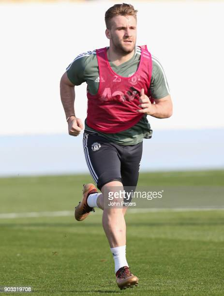 Luke Shaw of Manchester United in action during a first team training session at Nad Al Sheba Sports Complex on January 10 2018 in Dubai United Arab...