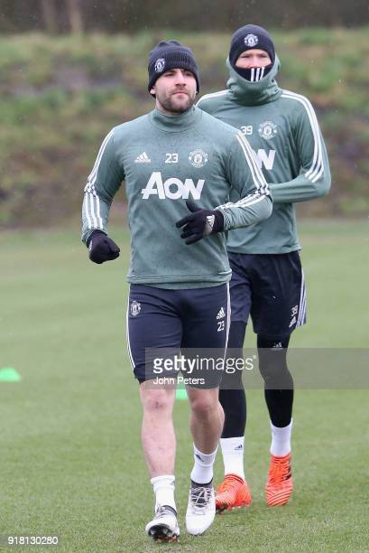 Luke Shaw of Manchester United in action during a first team training session at Aon Training Complex on February 14 2018 in Manchester England
