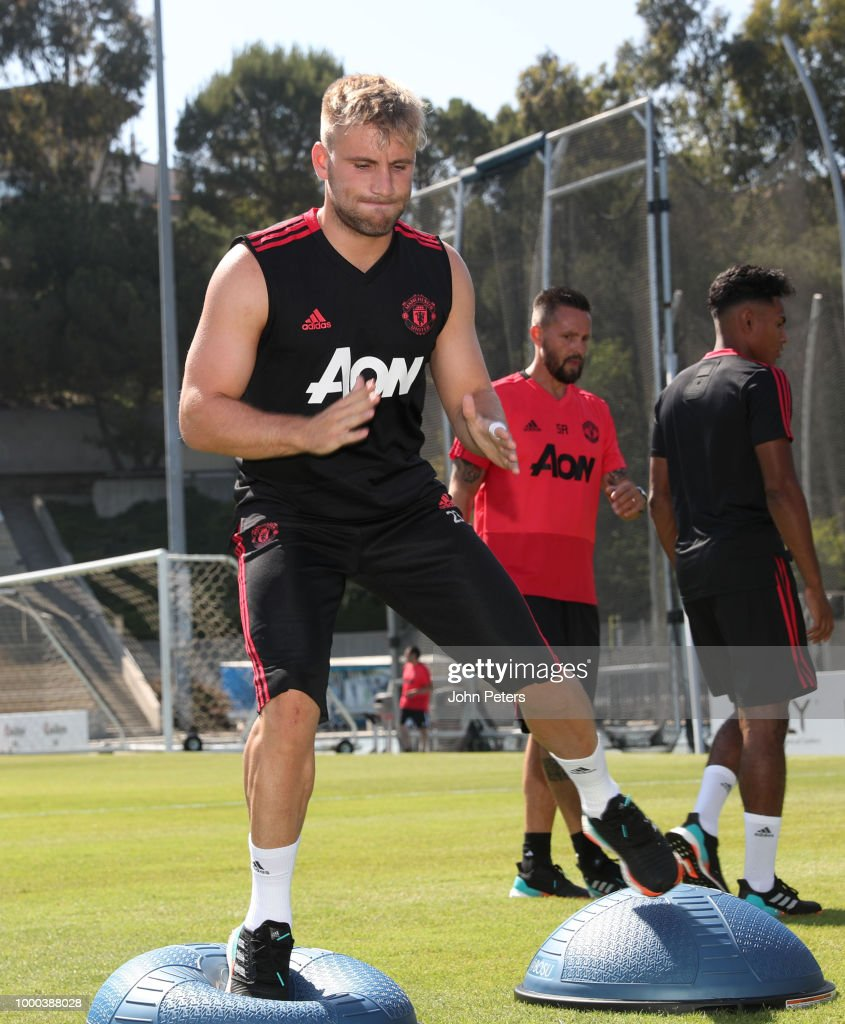 Luke Shaw of Manchester United in action during a Manchester United pre-season training session at UCLA on July 16, 2018 in Los Angeles, California.