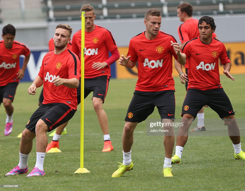 Luke Shaw of Manchester United in action during a training session as part of their pre-season tour of the United States on July 19, 2014 in Los Angeles, California.