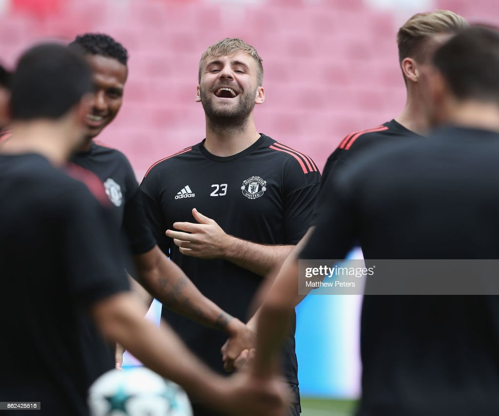 Luke Shaw of Manchester United in action during a training session ahead of their UEFA Champions League match against Benfica on October 17, 2017 in Lisbon, Portugal.