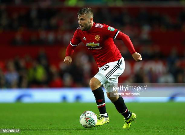 Luke Shaw of Manchester United in action during the Carabao Cup Third Round match between Manchester United and Burton Albion at Old Trafford on...
