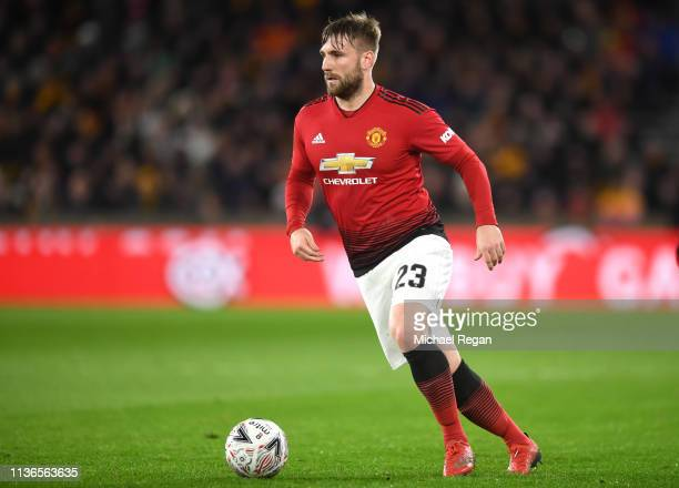 Luke Shaw of Manchester United in action during the FA Cup Quarter Final match between Wolverhampton Wanderers and Manchester United at Molineux on...