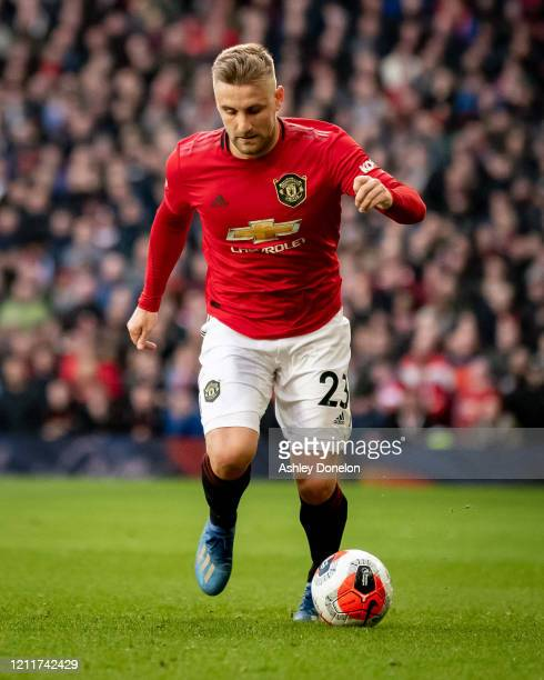 Luke Shaw of Manchester United in action during the Premier League match between Manchester United and Manchester City at Old Trafford on March 08...
