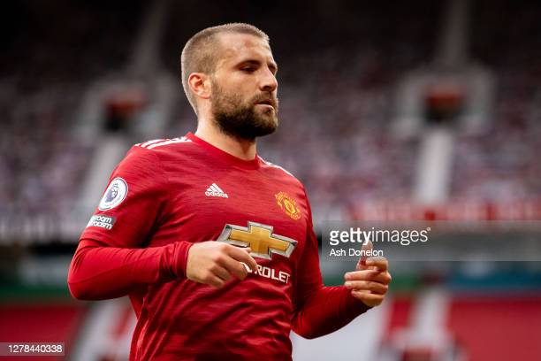 Luke Shaw of Manchester United in action during the Premier League match between Manchester United and Tottenham Hotspur at Old Trafford on October...