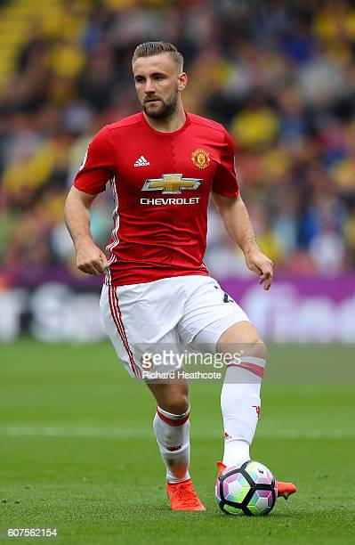 Luke Shaw of Manchester United in action during the Premier League match between Watford and Manchester United at Vicarage Road on September 18 2016...
