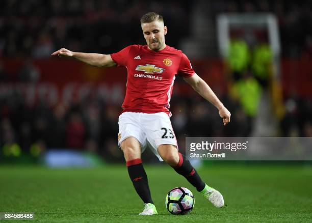 Luke Shaw of Manchester United in action during the Premier League match between Manchester United and Everton at Old Trafford on April 4 2017 in...