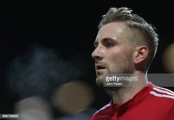 Luke Shaw of Manchester United in action during the Premier League match between Manchester United and Burnley at Old Trafford on December 26 2017 in...