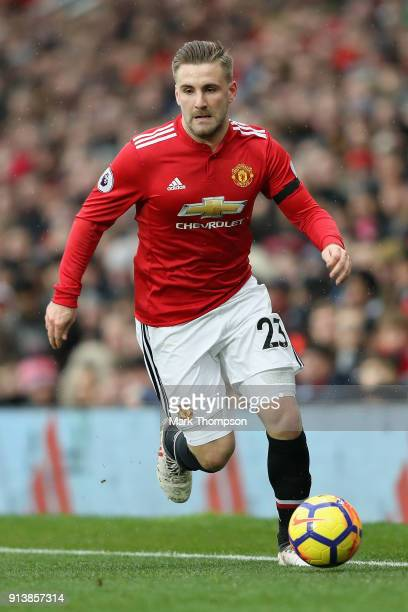 Luke Shaw of Manchester United in action during the Premier League match between Manchester United and Huddersfield Town at Old Trafford on February...