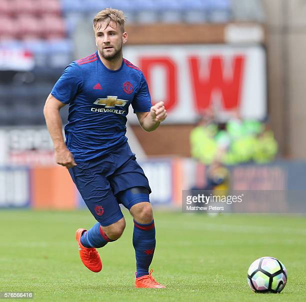 Luke Shaw of Manchester United in action during the preseason friendly match between Wigan Athletic and Manchester United at JJB Stadium on July 16...