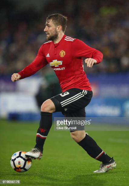 Luke Shaw of Manchester United in action during the The Emirates FA Cup Fifth Round between Huddersfield Town v Manchester United on February 17 2018...