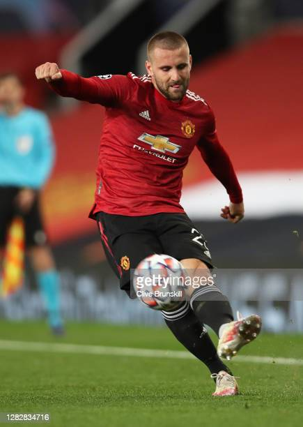 Luke Shaw of Manchester United in action during the UEFA Champions League Group H stage match between Manchester United and RB Leipzig at Old...