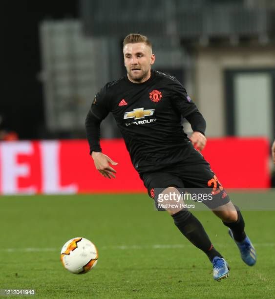 Luke Shaw of Manchester United in action during the UEFA Europa League round of 16 first leg match between LASK and Manchester United at Linzer...
