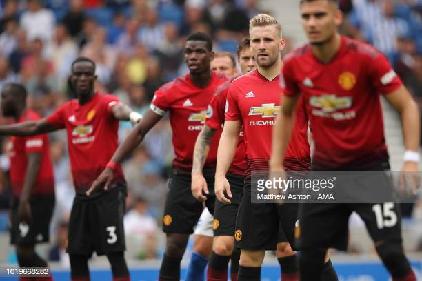Luke Shaw of Manchester United in the United defence during the Premier League match between Brighton Hove Albion and Manchester United at American...