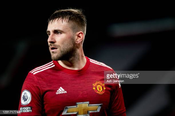 Luke Shaw of Manchester United looks on during the Premier League match between Manchester United and West Ham United at Old Trafford on March 14,...
