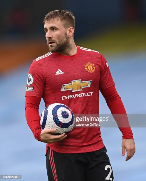 Luke Shaw of Manchester United looks on during the Premier League match between Manchester City and Manchester United at Etihad Stadium on March 07,...