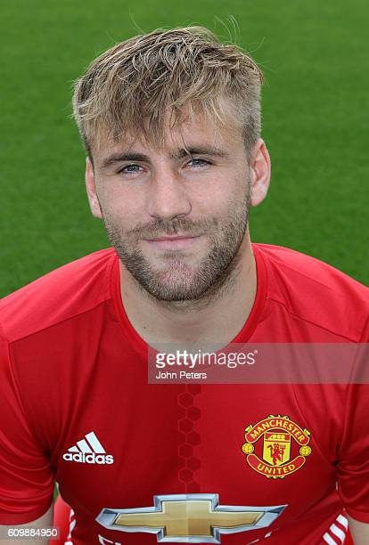 Luke Shaw of Manchester United poses for a portrait at the Manchester United Official Photocall on September 19 2016 in Manchester England