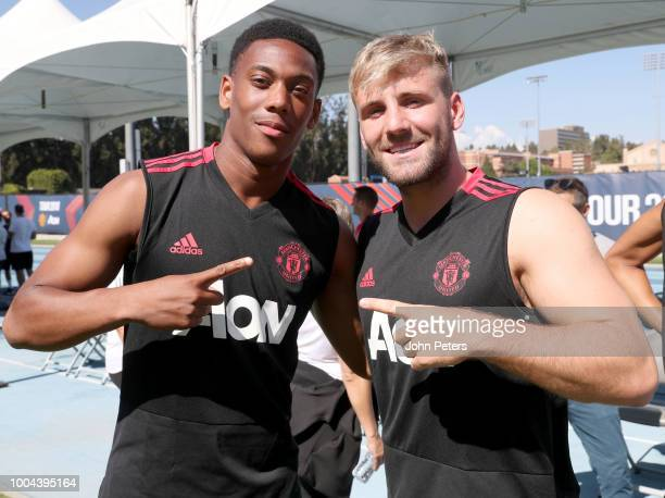 Luke Shaw of Manchester United poses with teammate Anthony Martial during a Manchester United preseason training session at UCLA on July 23 2018 in...
