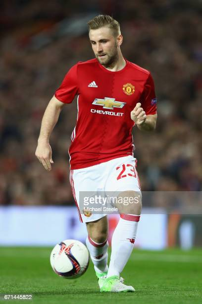Luke Shaw of Manchester United prepares to take a corner during the UEFA Europa League quarter final second leg match between Manchester United and...