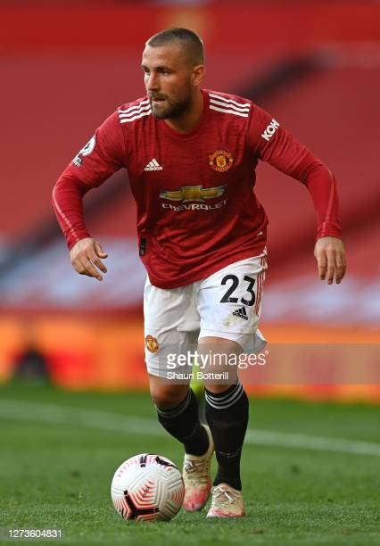 Luke Shaw of Manchester United runs with the ball during the Premier League match between Manchester United and Crystal Palace at Old Trafford on...