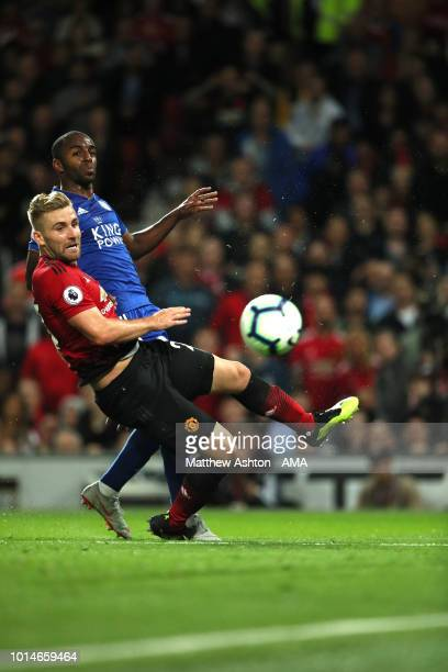 Luke Shaw of Manchester United scores a goal to make it 20 during the Premier League match between Manchester United and Leicester City at Old...