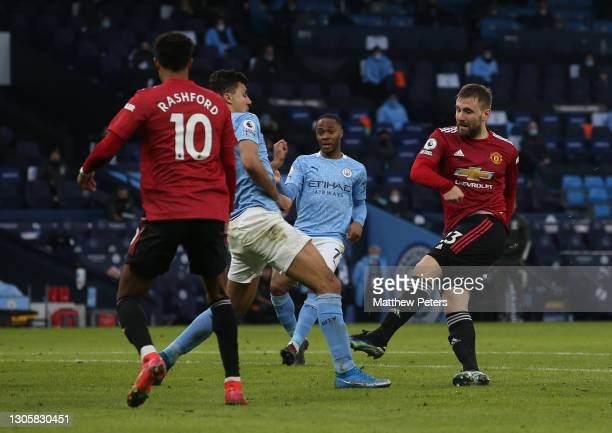 Luke Shaw of Manchester United scores their second goal during the Premier League match between Manchester City and Manchester United at Etihad...