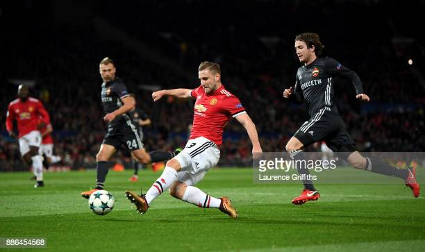 Luke Shaw of Manchester United shoots during the UEFA Champions League group A match between Manchester United and CSKA Moskva at Old Trafford on...