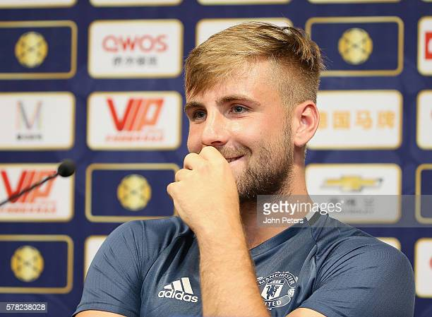 Luke Shaw of Manchester United speaks during a press conference as part of their preseason tour of China at Shanghai Stadium on July 21 2016 in...