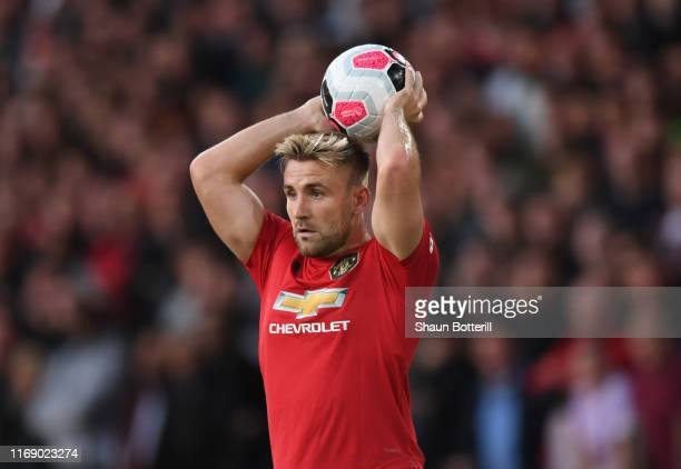 Luke Shaw of Manchester United takes a throw in during the Premier League match between Wolverhampton Wanderers and Manchester United at Molineux on...