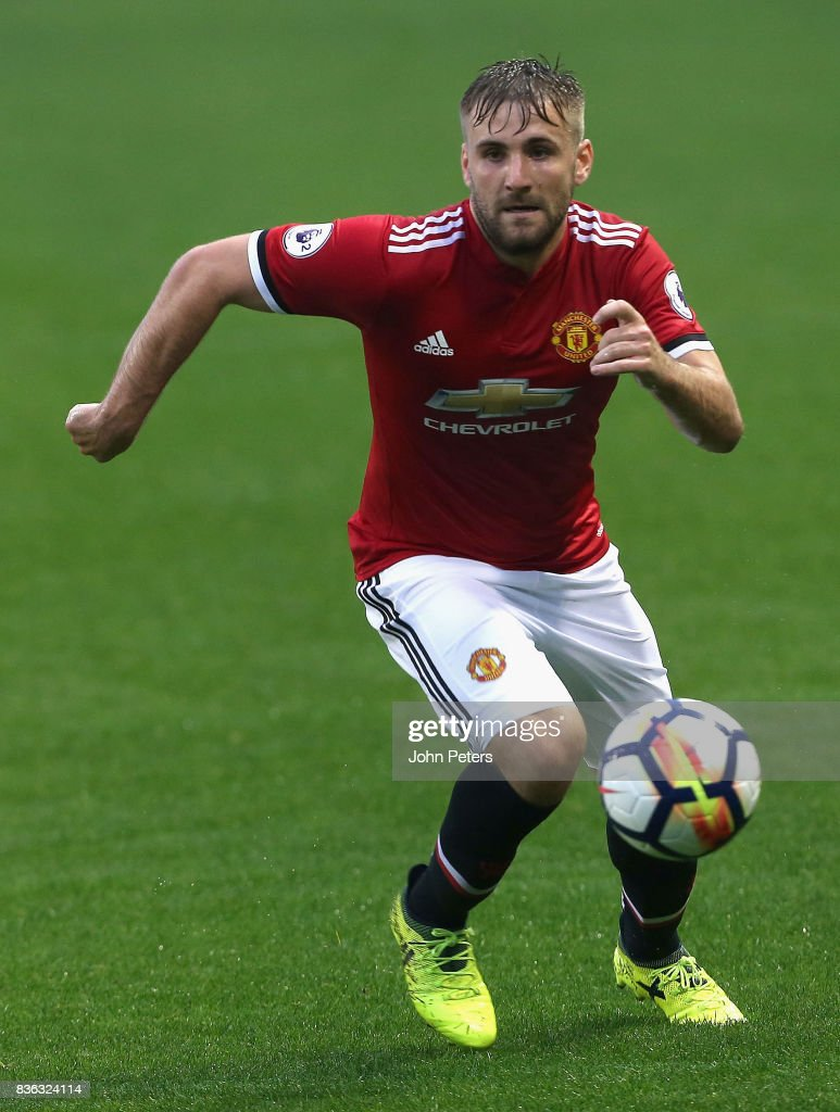 Luke Shaw of Manchester United U23s in action during the Premier League 2 match between Manchester United U23s and Swansea City U23s at Leigh Sports Village on August 21, 2017 in Leigh, Greater Manchester.