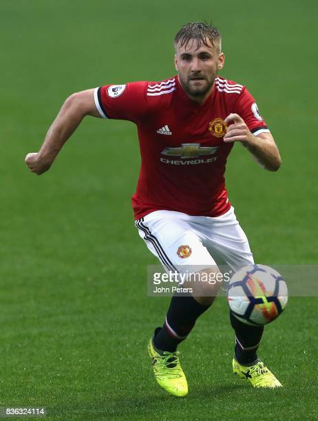 Luke Shaw of Manchester United U23s in action during the Premier League 2 match between Manchester United U23s and Swansea City U23s at Leigh Sports...