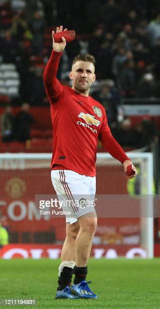 Luke Shaw of Manchester United walks off after the Premier League match between Manchester United and Manchester City at Old Trafford on March 08...