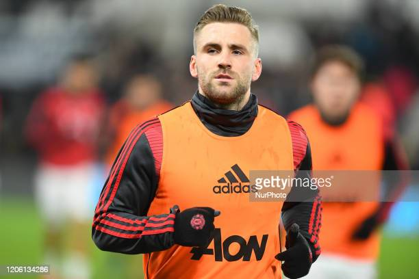 Luke Shaw of Manchester United warms up during the FA Cup match between Derby County and Manchester United at the Pride Park Derby on Thursday 5th...