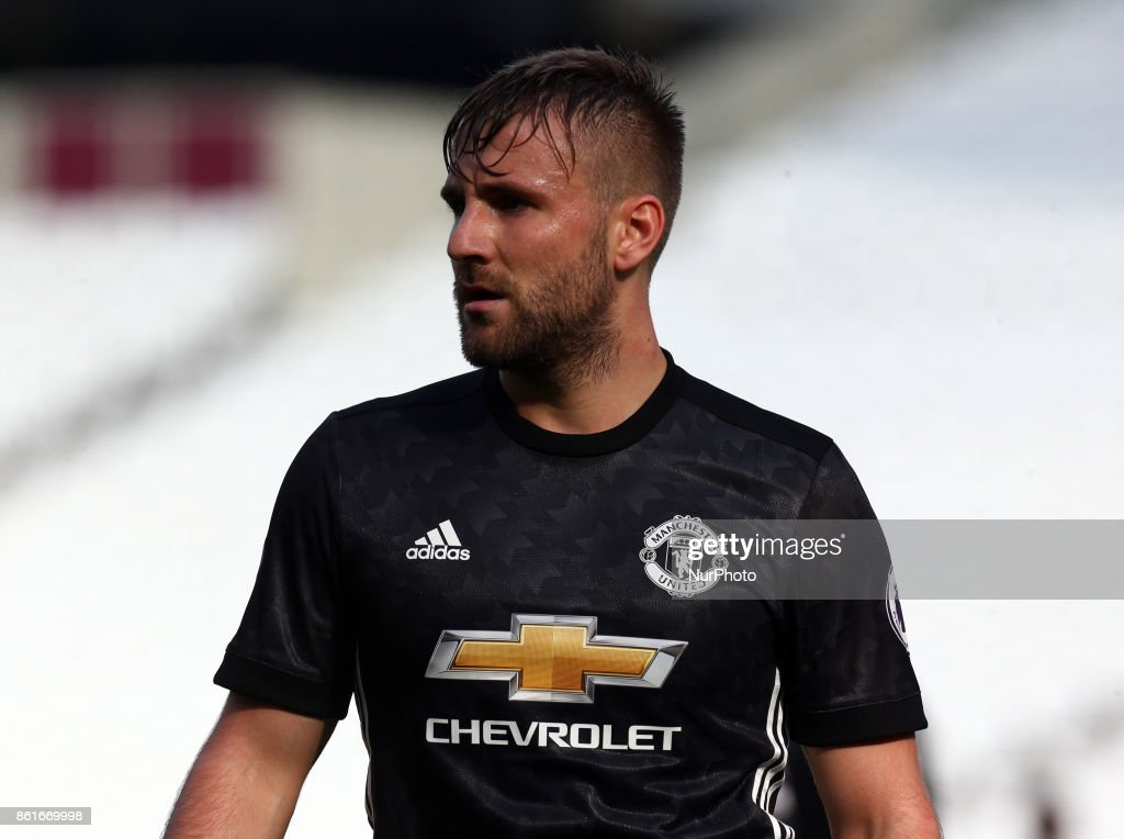 Luke Shaw of Manchester United's Under 23 during Premier League 2 Division 1 match between West Ham United Under 23s and Manchester United Under 23s at London Stadium, London , England on 15 Oct 2017.