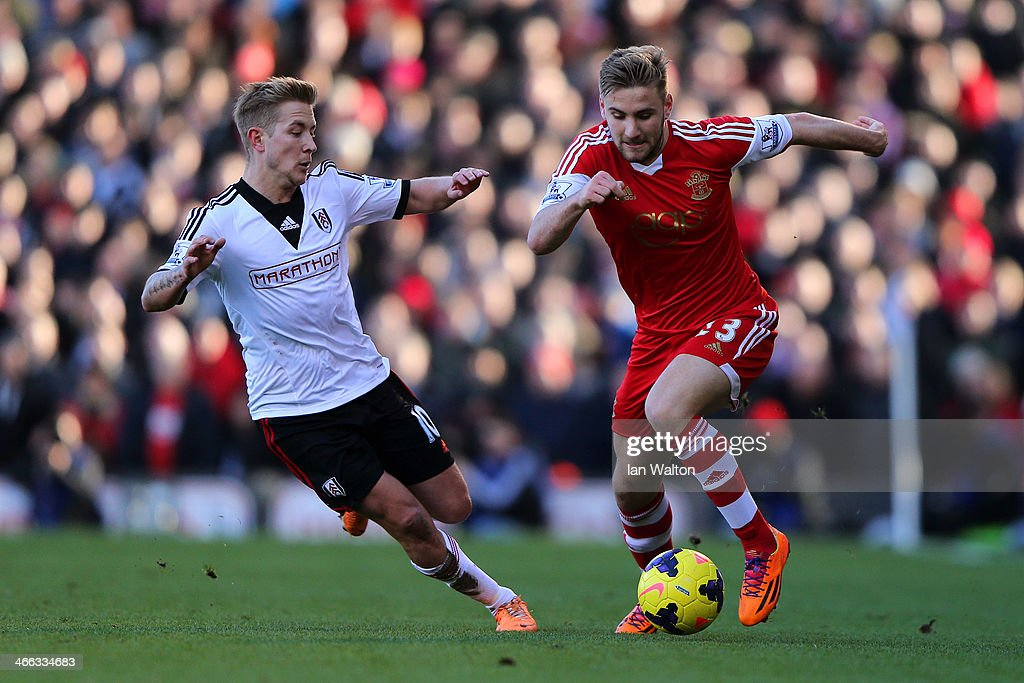 Luke Shaw of Southampton in action against Lewis Holtby of Fulham during the Barclays Premier League match between Fulham and Southampton at Craven Cottage on February 1, 2014 in London, England.
