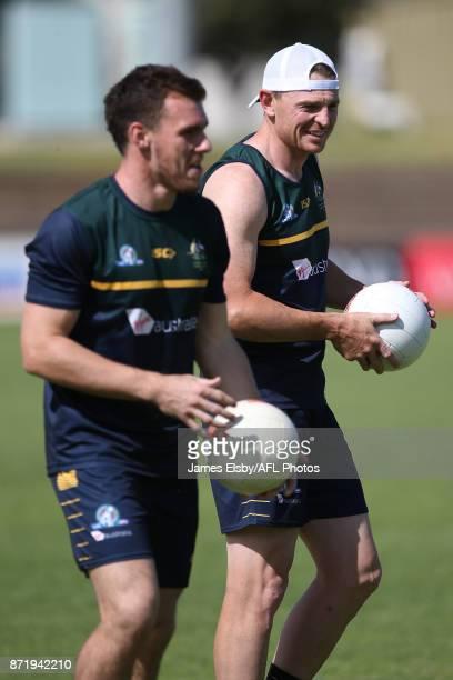 Luke Shuey and Brendon Goddard during an Australia International Rules Series Training Session at Adelaide Oval on November 9 2017 in Adelaide...