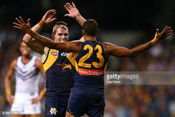 Luke Shuey and Lewis Jetta of the Eagles celebrate a goal during the round three AFL match between the West Coast Eagles and the Fremantle Dockers at...