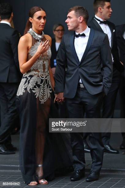Luke Shuey and partner Danielle Orlando arrive ahead of the 2017 Brownlow Medal at Crown Entertainment Complex on September 25 2017 in Melbourne...