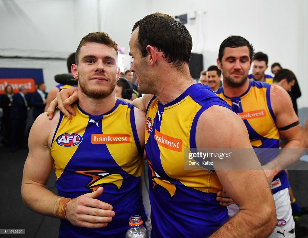Luke Shuey and Shannon Hurn of the Eagles celebrate after the AFL First Elimination Final match between Port Adelaide Power and West Coast Eagles at Adelaide Oval on September 9, 2017 in Adelaide, Australia.