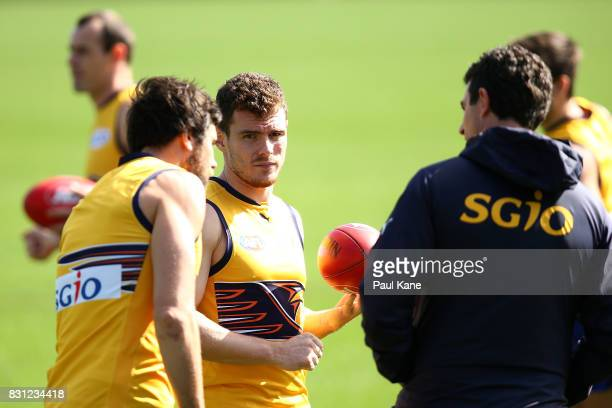 Luke Shuey looks on during a West Coast Eagles AFL training session at Domain Stadium on August 14 2017 in Perth Australia