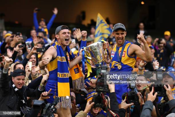 Luke Shuey of the Eagles and Dom Sheed of the Eagles celebrates with the AFL Premiership Cup after winning the 2018 Toyota AFL Grand Final match...